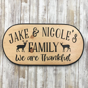 Personalized Family Name Sign - Carved Pine Wood