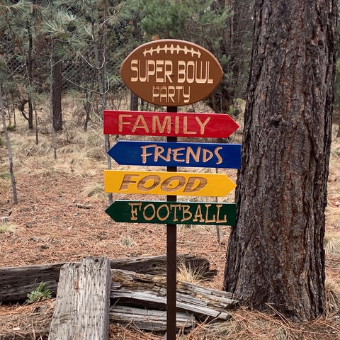 Customizable Super Bowl Football Directional Lawn Directional Sign - Carved Cedar Wood