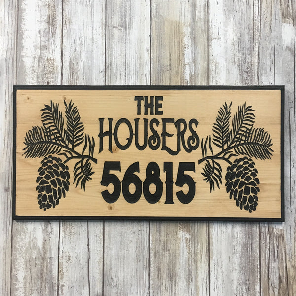 Pine Branch Name & Address Sign - Personalize Custom - Carved Pine Wood