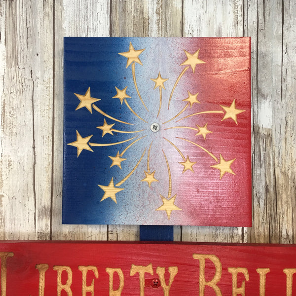 Independence Day 4th of July Holiday Directional Yard Sign - Carved Cedar Wood