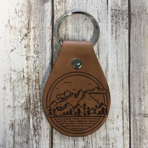 Mountain Scene Leather Key Chain Fob