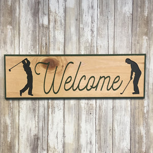 Golf Welcome  Sign - Carved Pine Wood