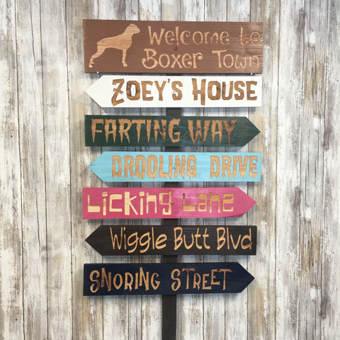 Custom Dog Pet Garden Yard Signs-  Carved Cedar Directional signs