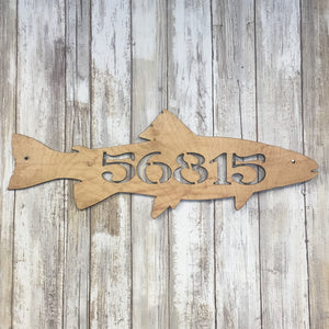 Laser Cut Trout Custom Address  Wood Sign - Cabin Decor - Laser cut  Pine Tree Wood