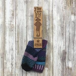 Sock Clip Giant Clothes Pin - Engraved Pine Wood