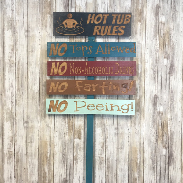 Hot Tub Spa Jacuzzi Rules Yard Sign-  Carved Cedar Directional signs