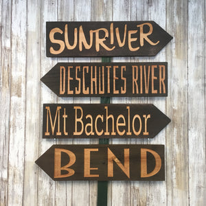 Central Oregon Directional Sign Set - Bend Sunriver Deschutes River Mt Bachelor - Carved Cedar Wood