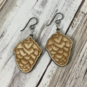 Hops Flower Beer Earrings - Baltic Birch Wood