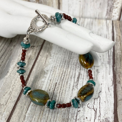 Canyon River Bracelet - Pewter Ceramic and Czech Glass