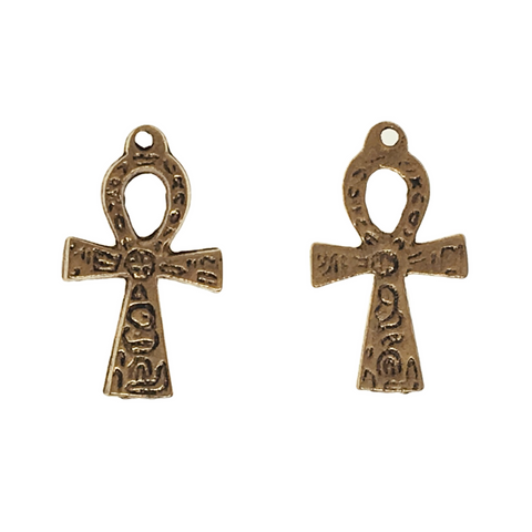 Large Ornate Ankh Charms - Qty of 5 Charms - 22kt Gold Plated Lead Free Pewter - American Made