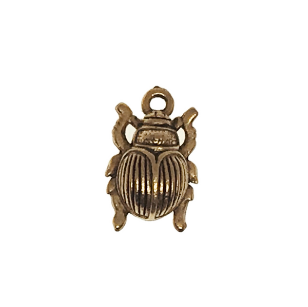 Beetle Charms - Qty 5 - 22kt Gold Plated Lead Free Pewter - American Made