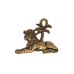 Egyptian Sphinx Charms - Qty of 5 Charms - 22kt Gold Plated Lead Free Pewter - American Made