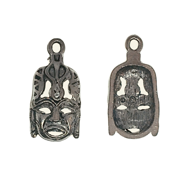 Safari Tribal Mask Charms - Qty of 5 Charms -Lead Free Pewter Silver - American Made
