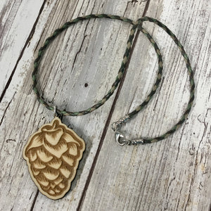 Hops Flower Beer Pendant Necklace - Baltic Birch Wood