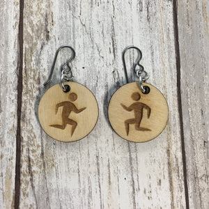 Marathon Runner Earrings - Baltic Birch Wood