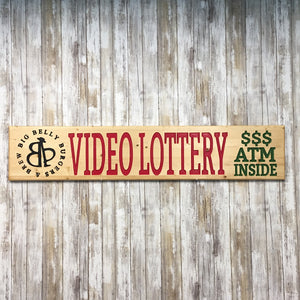 Custom Video Lottery Business Logo Signs - Carved & Painted Pine Wood