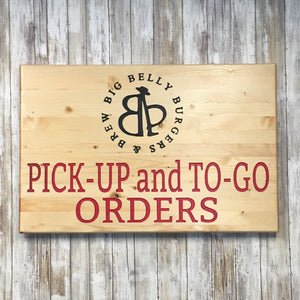 Custom Restaurant Business Logo Signs - Carved & Painted Pine Wood