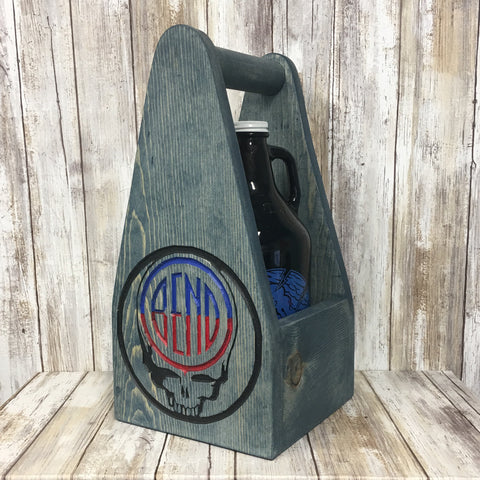 Bend Oregon Logo Grateful Dead Beer Carrier - As Shown Holds One 64oz Growler Bottle - Other Sizes Available