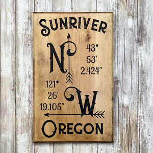 Sunriver Oregon NW GPS Coordinates - Wall Hanging Sign - Carved Pine Wood