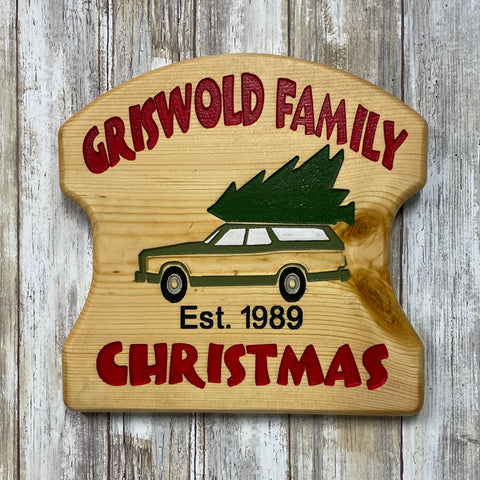 Griswold Family Christmas Wall Hanging Sign - Engraved Pine Wood