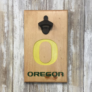 College Football Beer Bottle Cap Opener - Wall Mounted Carved Pine Wood