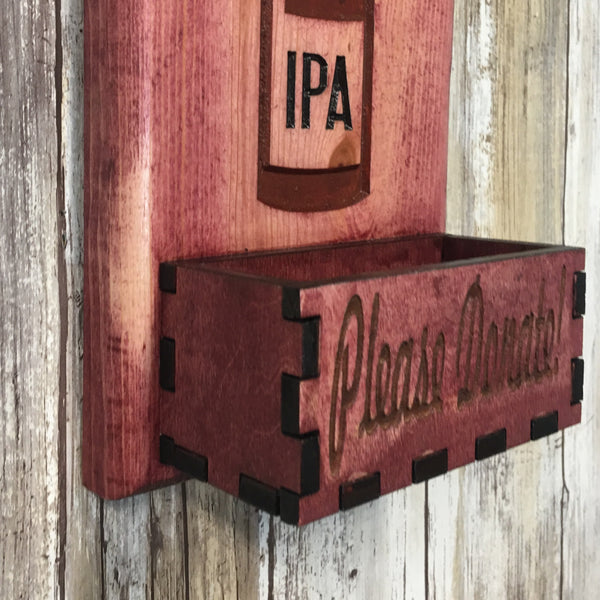 My Blood Type is IPA Bottle Opener - Beer Cap Catcher Wall Mounted - Red Stained Pine