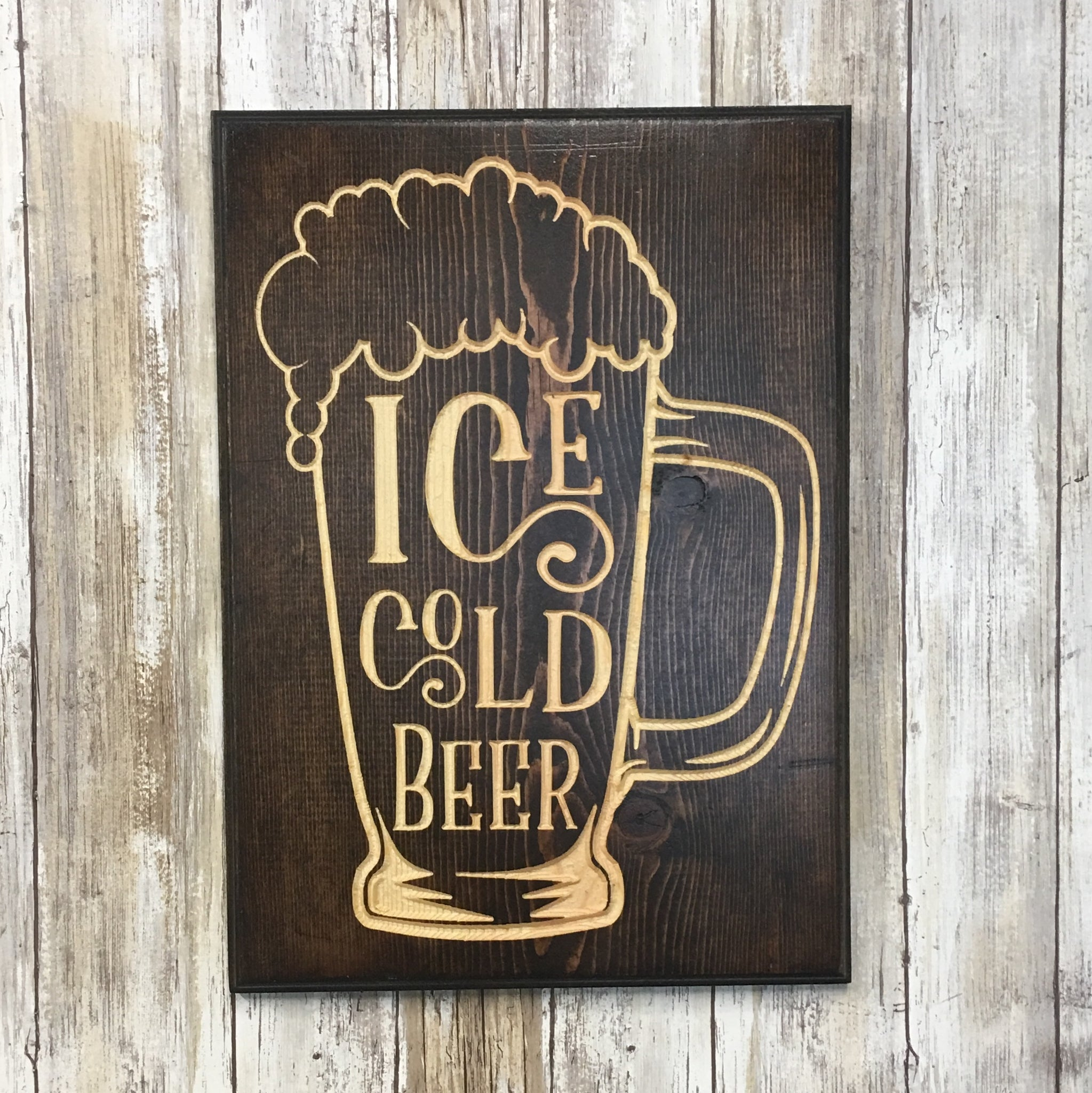 Ice Cold Beer Mug Sign - Carved Pine Wood