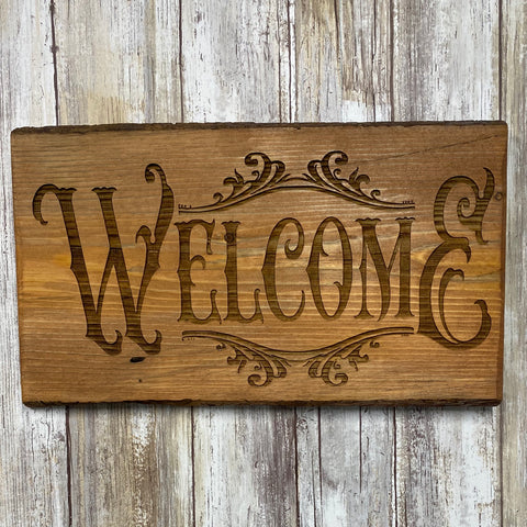 Rustic Welcome Sign - Live Edge Lodgepole Pine Wood Sign