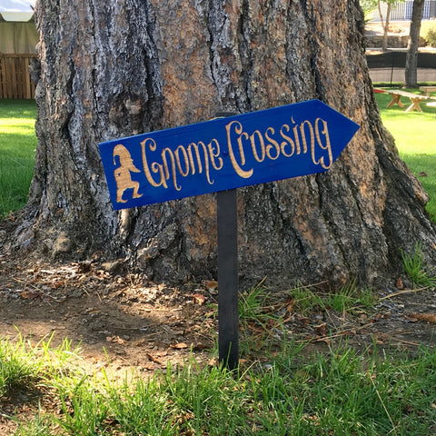 Gnome Crossing Lawn Ornament Sign -  Cedar Wood Decor