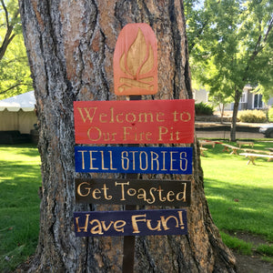 Welcome to Our Fire Pit Yard Sign Set - Carved Cedar Wood Lawn or Camping Decor