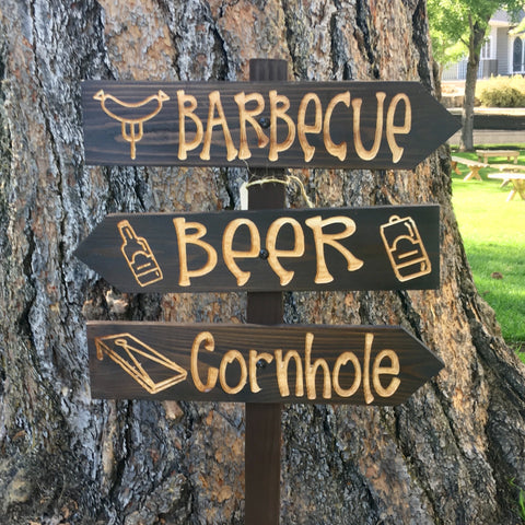 Barbecue BBQ Cornhole Party Directional Lawn Ornament Sign - Carved Cedar Wood Decor