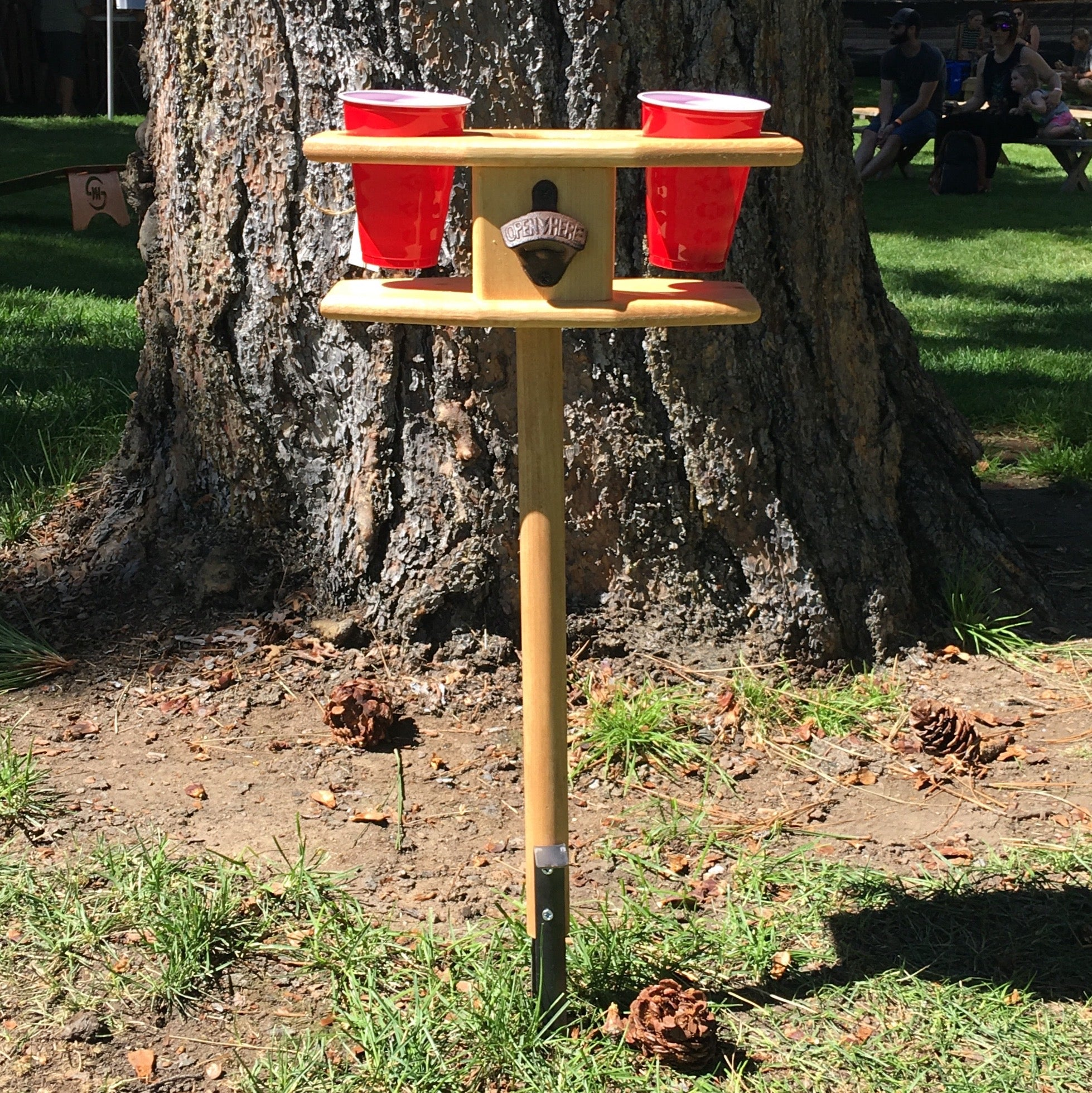 Outdoor Picnic Cup Holder on Post with Ground Stake - Backyard Barbecue Essential