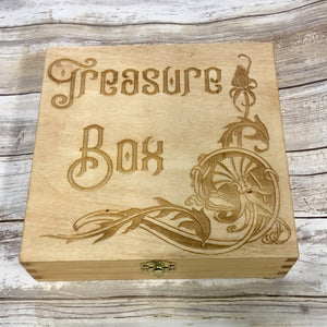 Treasure Box - For Jewelry or Keepsakes - Laser Engraved Wood Box Customize Personalize