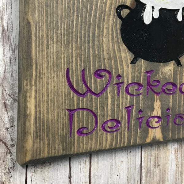 Witch's Kitchen Cauldron Sign - Carved Pine Wood