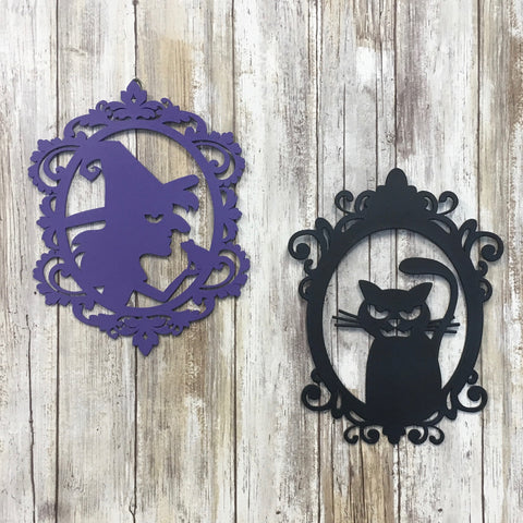 Witch and Black Cat Halloween Silhouette Cut Outs
