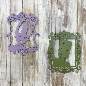 Frankenstein and Bride of Frankenstein Halloween Silhouette Cut Outs