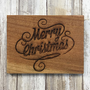 Small Rustic Merry Christmas Sign - Laser Engraved Cedar Wood