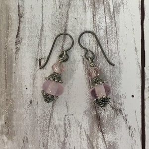 Ornate Victorian Style Pink Lampwork Glass Earrings