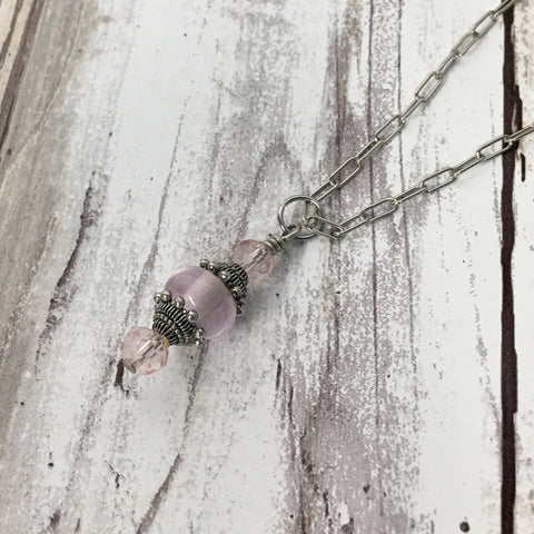 Ornate Victorian Style Pink Lampwork Glass Pendant Necklace