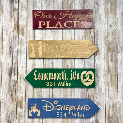 Design Your Own Happy Place Directional Sign or Set - Customize Personalize