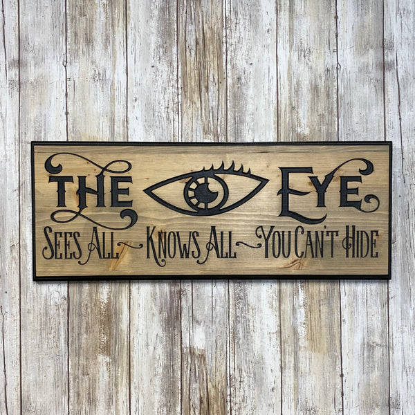 All Seeing Eye Sign - Gypsy Fortune Telling - Carved Pine Wood