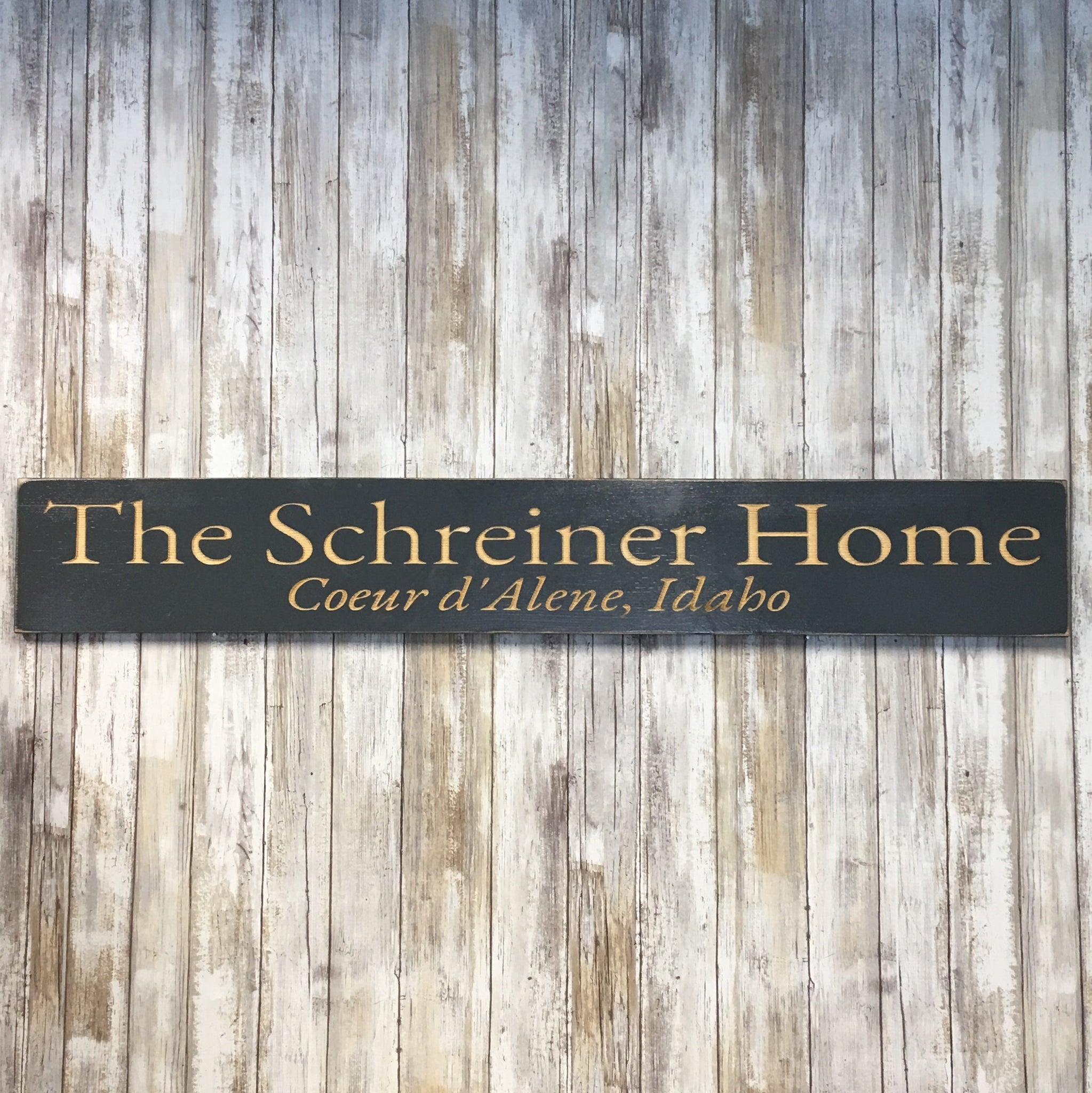 Over the Door Horizontal Family Home Name Sign - Personalize Custom - Carved Pine Wood