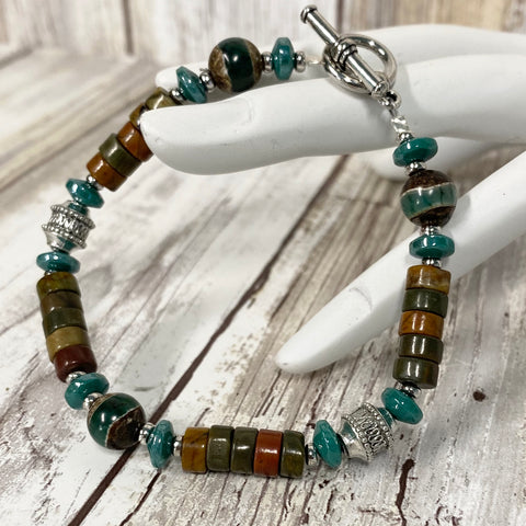 Canyon River Bracelet - Pewter Jasper DZI & Czech Glass