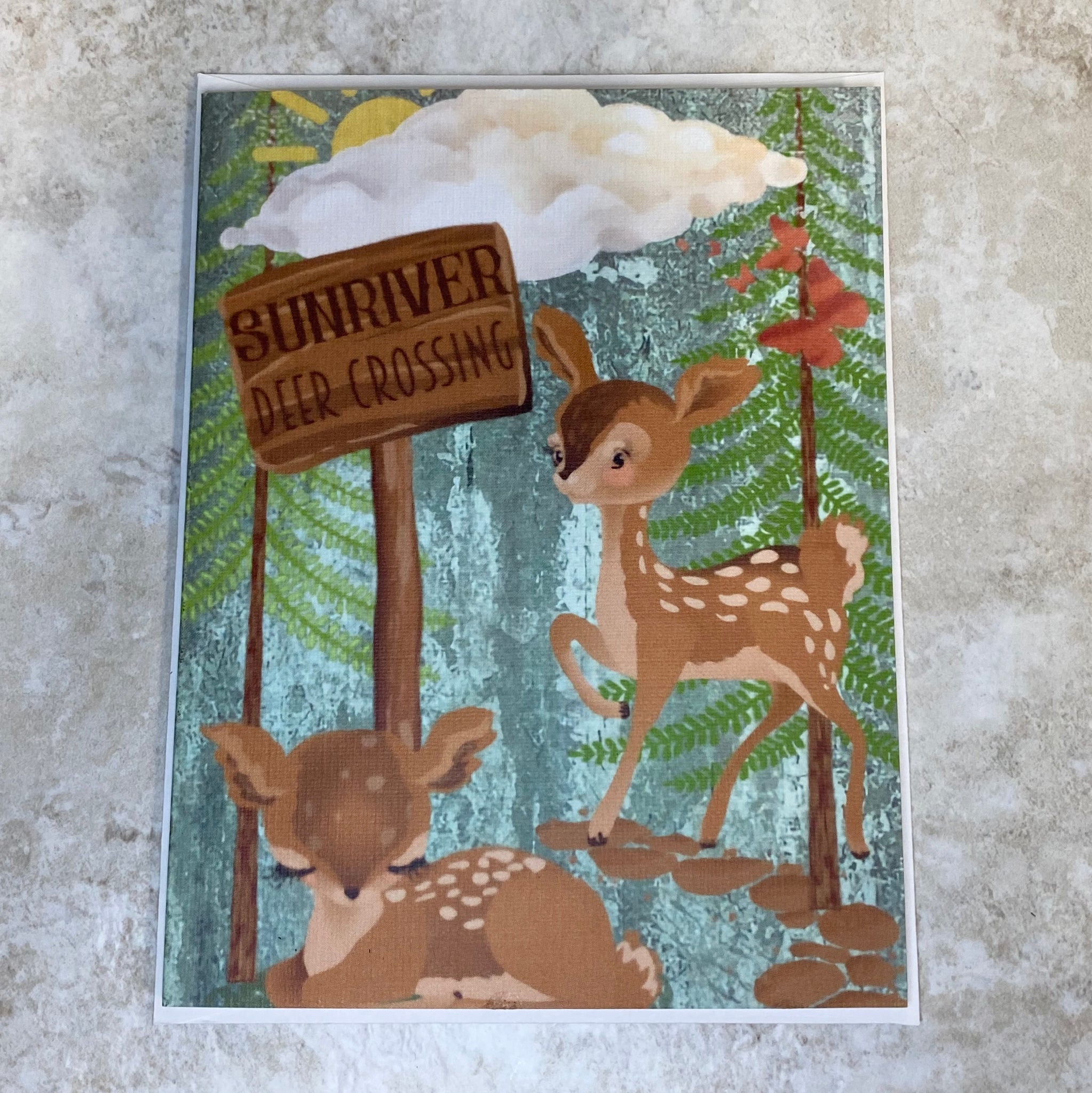 Sunriver Deer Crossing Greeting Card - Created by Houser House Creations