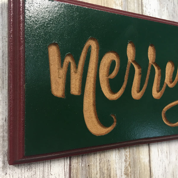 Merry Christmas Sign - Perfect for Over a Door - Carved MDF Wood