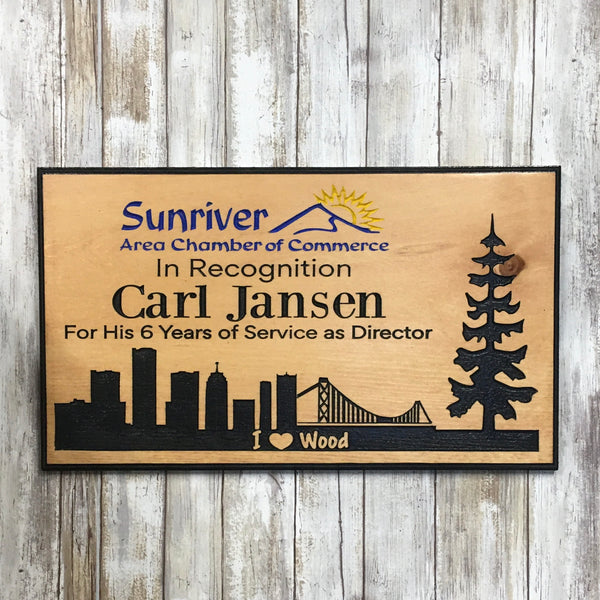 Custom Recognition Sign - Carved Engraved Pine Wood