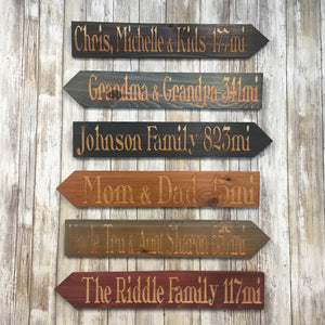 Design Your Own Location and Miles Directional Sign or Set - Customize Personalize