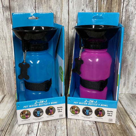 2 in 1 Pet Water Bottle and Bowl Travel Bottle  - Holds 18oz