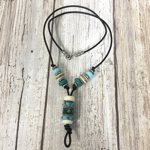 Southwestern Flair Turquoise Lampwork Glass Leather Necklace