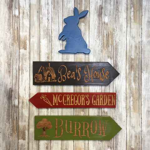 Peter Rabbit Direction Signs - Carved Cedar Wood Decor